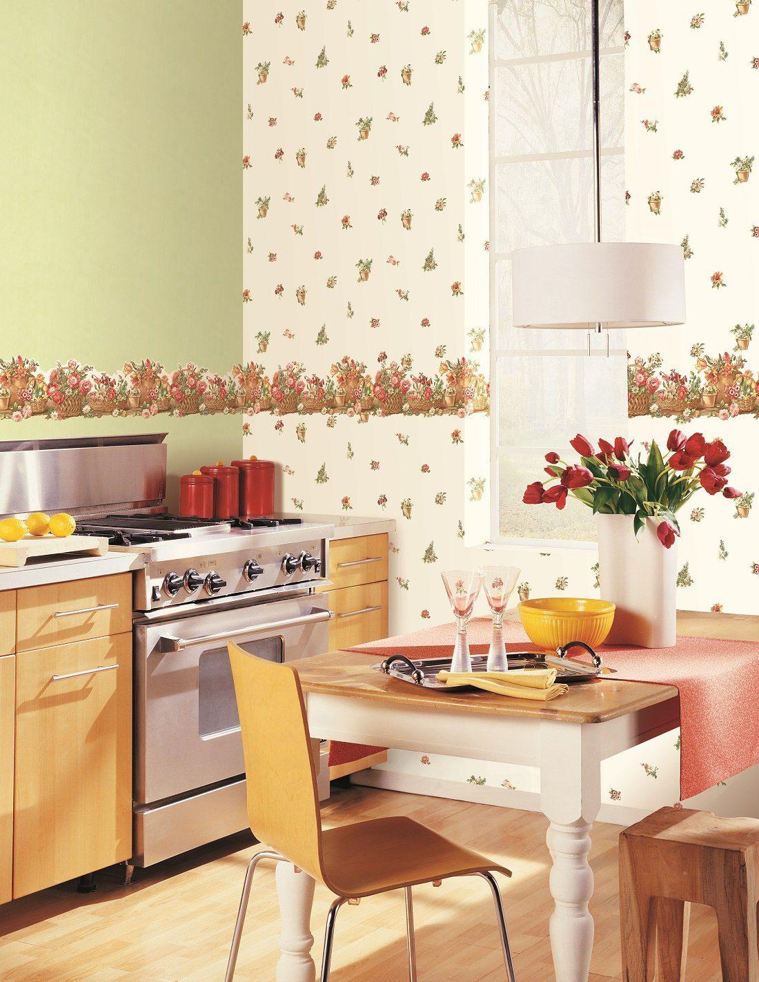 Как поклеить кухню разными обоями фото